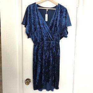 NWT Blue velvet wrap dress